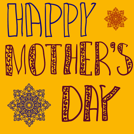 handlettering: Happy Mothers Day Cover. Handlettering Background With Hand Drawn Lace For Mother s Day in yellow  color. Oriental mandala flowers as decoration.