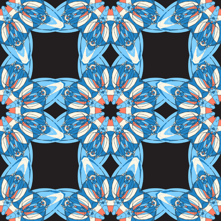 chinaware: Vector background. Beautiful geometric square pattern. Imitation of chinese porcelain painting. Blue symmetry background. Illustration