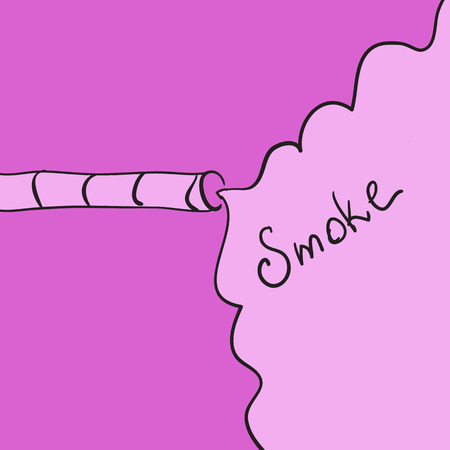 copyspace: vector of abstract hand-drawn smoking, cigarette and copyspace in pink color
