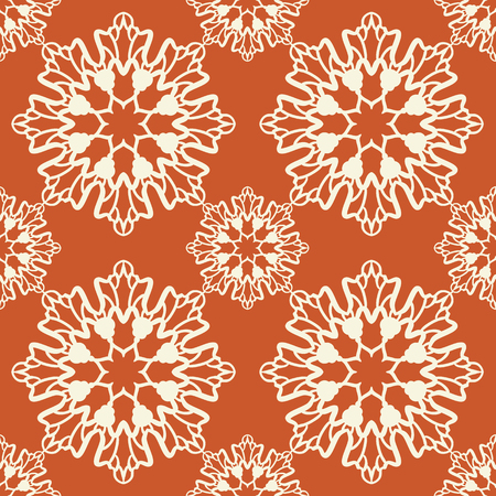 asian and indian ethnicities: Geometric seamless pattern. Low color design. Endless rosette on orange color. Two color abstract background. Illustration
