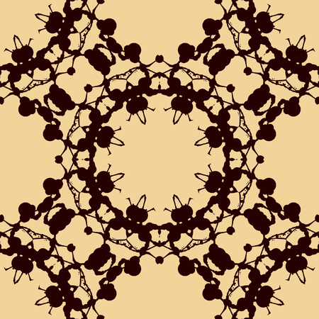 inkblot: Design rorschach inkblot test. Brown on yellow watercolor symmetric blotch. Abstract hand drawn painting endless pattern. Seamless decorative background. Illustration