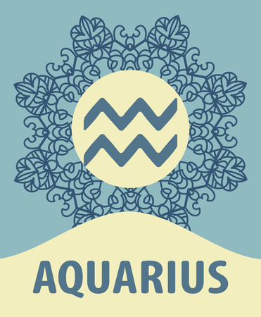 water bearer: Hand-drawn zodiac Aquarius with ethnic floral geometric doodle pattern. Western Horoscope Symbol. Vector illustration. The Water Bearer. Zodiac icon with mandala print. Vector icon. Illustration
