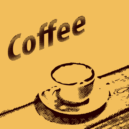 halftone: Coffee poster in vintage style. Grunge template with halftone design of coffee menu. Retro Menu Cover Vector illustration.