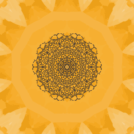 yantra: Hand-drawn mandala flower. Elegant mandala-like pattern on yellow seamless watercolor texture. Ornamental round seamless lace pattern. Abstract vector tribal ethnic yoga yantra background seamless motif. Illustration