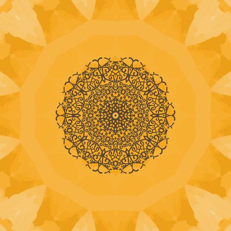 Hand-drawn mandala flower. Elegant mandala-like pattern on yellow seamless watercolor texture. Ornamental round seamless lace pattern. Abstract vector tribal ethnic yoga yantra background seamless motif. Illustration