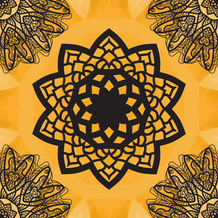 newage: Yoga Ornament, kaleidoscopic floral  yantra. Indian Art Print. . Seamless ornament lace. Oriental vector pattern. Islamic,Arabic, Indian, Turkish, Pakistan, Chinese, Asian, Moroccan, Ottoman motifs. Mandala outlined. Illustration