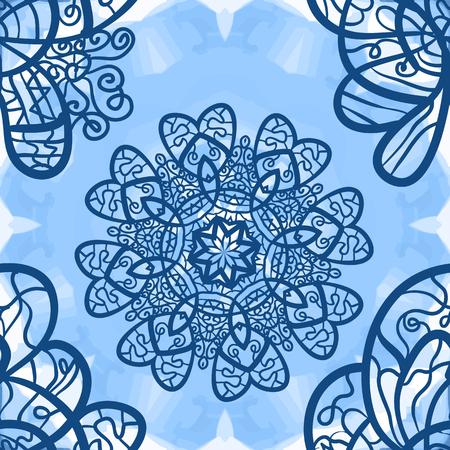 distinguished: Seamless mandala-like elegant ornate pattern on blue symmetrical watercolor texture, indian, ottoman, asian motifs.