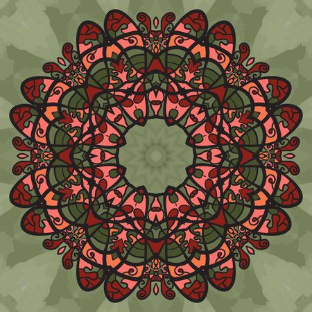 yantra: Elegant Doodle Symmetrical Print Wallpaper. Ornamental round seamless lace pattern. Abstract vector tribal ethnic yoga yantra background endless pattern. Illustration