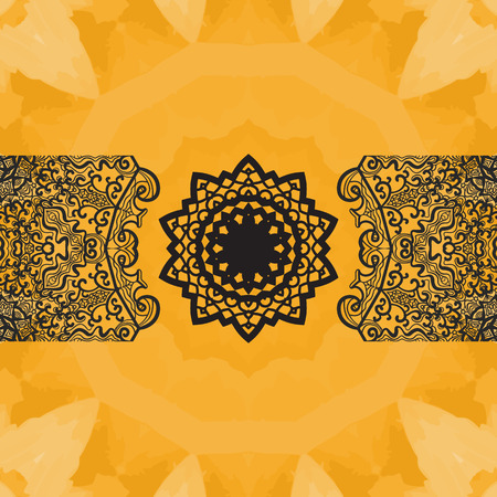 newage: Elegant oriental frame on seamless watercolor texture. Hand-drawn mandala flower in the center and  copyspace above and beneath. Ornamental seamless lace pattern. Abstract vector tribal ethnic yoga yantra background endless pattern.