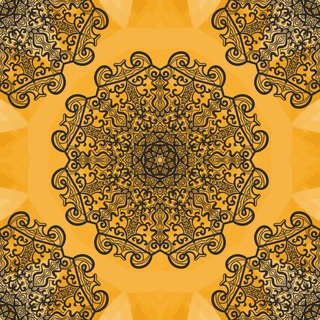 newage: Elegant oriental syamless print. Ornamental round seamless lace pattern. Abstract vector tribal ethnic yoga yantra background endless pattern. Illustration
