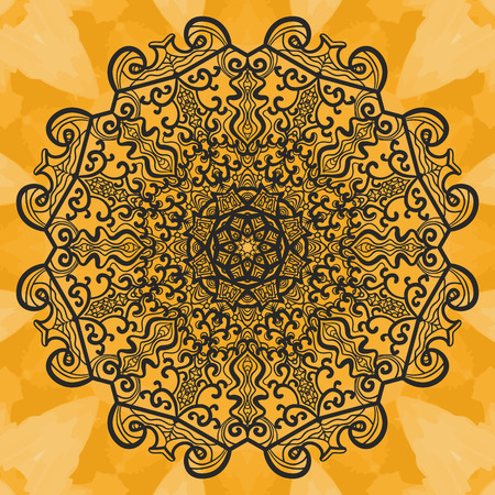 newage: Mandala-like open-work on seamless texture. Hand-drawn new-age pattern round lace pattern. Abstract vector tribal ethnic yoga yantra background seamless tile on henna color watercolor background. Illustration