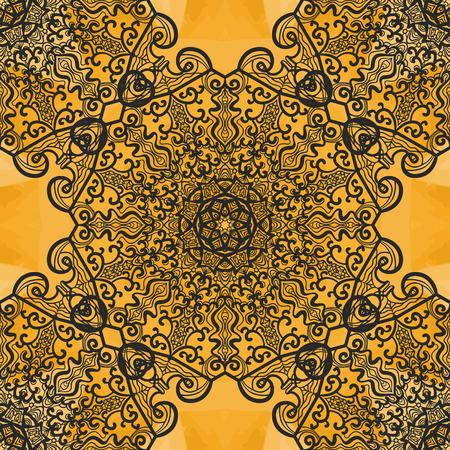 newage: Symmetrical Seamless Mandala Print on Henna watercolor Texture. Vintage decorative element on endless texture. Hand drawn design element. Islamic, Arabic, Indian, Asian, Ottoman motifs. Illustration