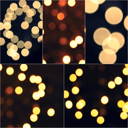 colorized: Lights Decoration Blurred Event Festival outdoor Vintage toned Bokeh Collage set of colorized images