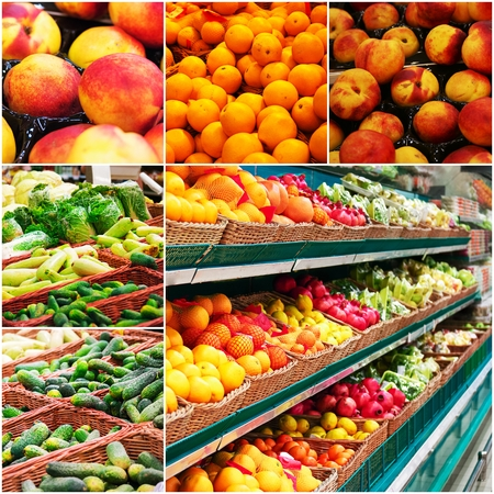 colorized: Different grocery shelves full of fruit and vegetables, collage of colorized photo.