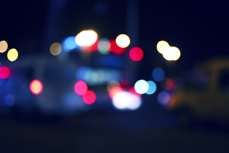 colorized: Colorized blurred street and car lights, urban abstract night time background. Stock Photo