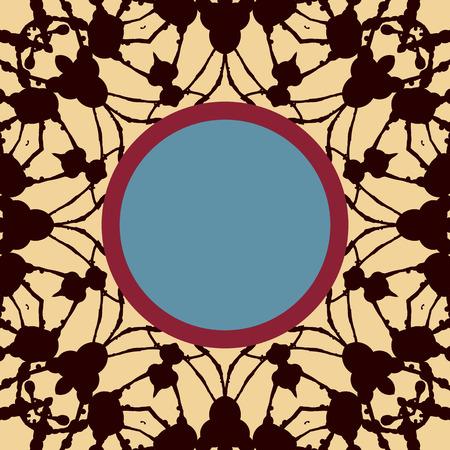 distinguished: Mandala stylized Print with frame for text. Islamic, Arabic, Asian motif. Illustration