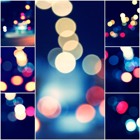 colorized: Collage Abstract urban night bokeh, set of toned colorized defocused background.