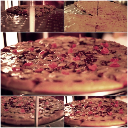 colorized: Collage of toned colorized pizza images, selective focus Stock Photo