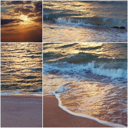 mediterranea: Collage of sea shots in sunset time toned images