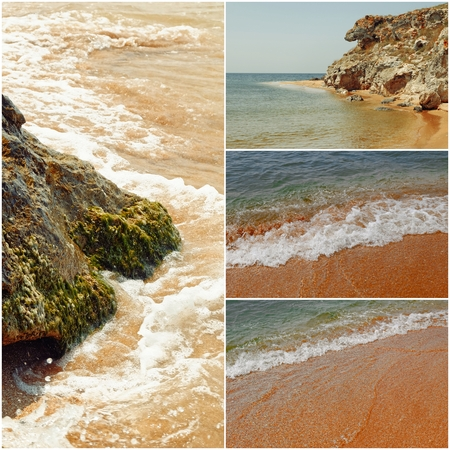 mediterranea: Collage of sea images in day time toned photos Stock Photo