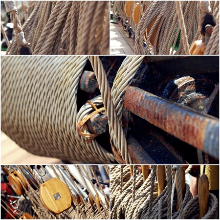Ropes of sailing boat and rotating machine collage of photos. Stock Photo