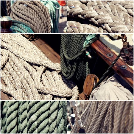 boating: Sail boating concept. Sailing boat ropes collage set of images toned, vintage color.