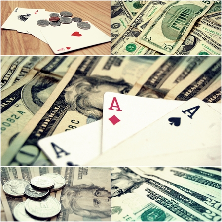 high stakes: Money and Poker Stock Photo Collage, online casino games concept.
