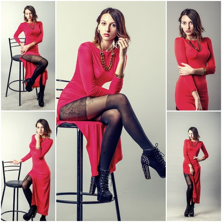 Pretty babe in red dress collage of toned studio shots.