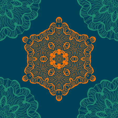 newage: Mandala-like open-work seamless texture. Hand-drawn new-age pattern round lace pattern. Abstract vector tribal ethnic yoga yantra background seamless tile on blue color background.