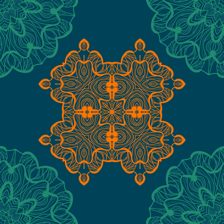 Mandala-like open-work seamless texture. Hand-drawn new-age round lace pattern. Abstract vector tribal ethnic yoga yantra background endless tile on blue color background. Illustration