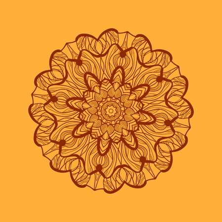newage: Mandala-like coloring work texture. Hand-drawn new-age pattern round lace. Abstract vector tribal ethnic yoga yantra background tile on henna color background.