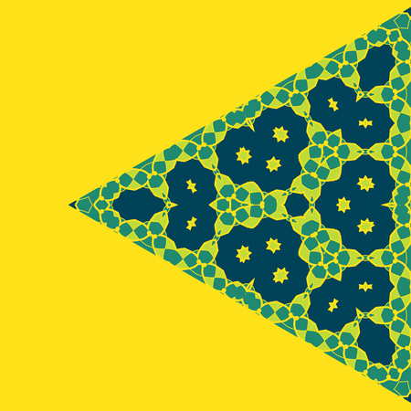 Triangle Green on Yellow Symmetry Ornament Pattern. Geometric element made in vector with copyspace. Cover Design.