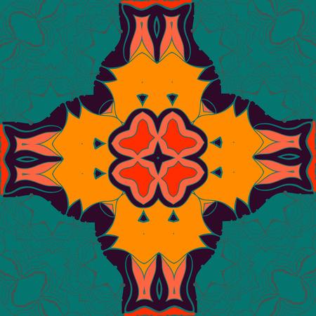 Elegant mandala-like pattern on green seamless texture. Hand-drawn mandala flower. Ornamental round seamless lace pattern. Abstract vector tribal ethnic yoga yantra background seamless motif. Illustration