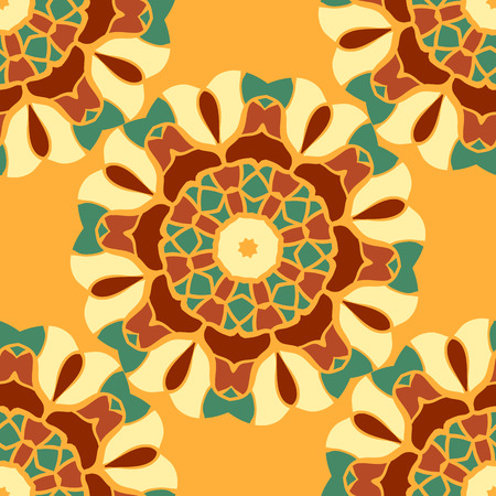Seamless Pattern Stylized Mandala Vintage Decorative Elements in brown and green. Oriental pattern vector. Islamic, Arabian, Indian, Turkish, Pakistan, Chinese, Moroccan, Ottoman, Persian motifs.