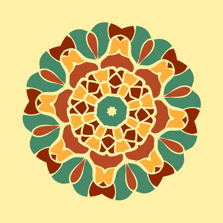 Green and brown mandala ornament symmetry seamless background.Decorative round ornament colouring anti-stress therapy.Fabric design. Yoga inspired backgrounds meditation poster.Unusual stylized flower