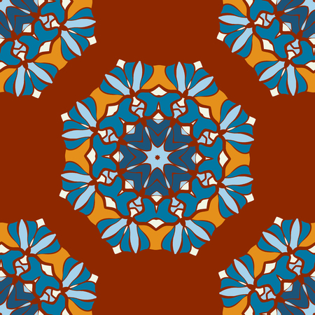 Beautiful Indian geometric seamless ornament print. Ethnic Mandala Fabric. Vector Buddhism style Meditation Pattern. Can be used for textile, greeting card background, coloring book, phone case print.