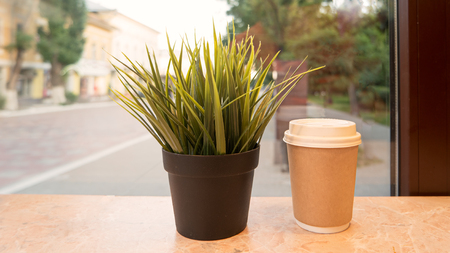 Takeaway cup of hot drink and pot with grass on windowsill, retro color Reklamní fotografie
