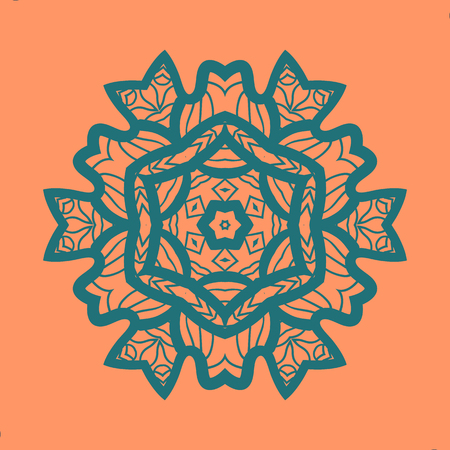 Outlined Print on Orange Color Background. Mandala Flower for Colouring Work Relaxation Adult Zentangle Background. Ornate t-shirt print. New Age Style.