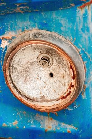 Antique truck broken headlight blue color very closeup Stock Photo
