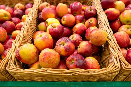 Ripe Red Apples in Superstore Stock Photo