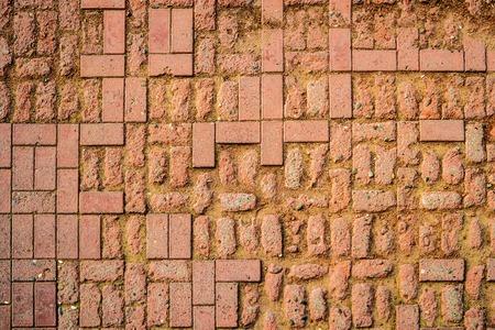 weathered: Weathered Red Brick Pavement
