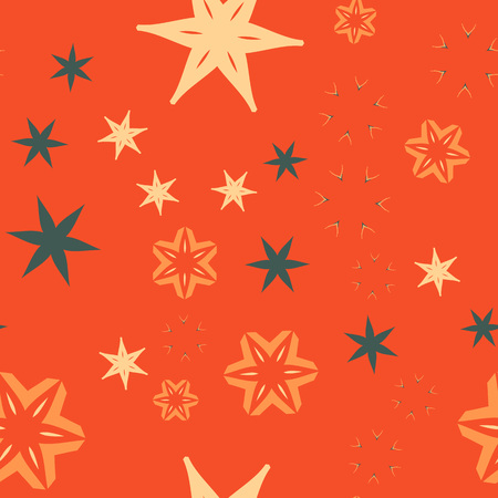 Colorful orange warping paper pattern with stars and flowers