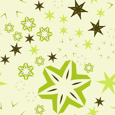 Light green warping paper with ornamental flowers and stars