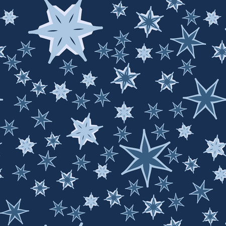 Seamless Pattern with Stars on Navy Blue. Vector Illustration.