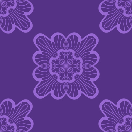 victorian wallpaper: Violet Wallpaper in abstract style. A seamless vector background. Symmetrical ornament. Graphic vector pattern. Illustration