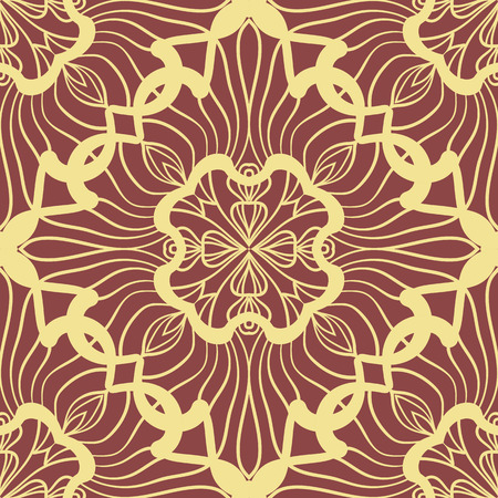 drapes: Yellow Wallpaper in abstract style. A seamless vector background. Symmetrical ornament. Graphic vector pattern.