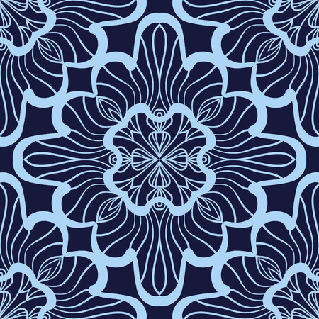 Blue and Azure Wallpaper in abstract style. A seamless vector background. Symmetrical ornament. Graphic vector pattern.
