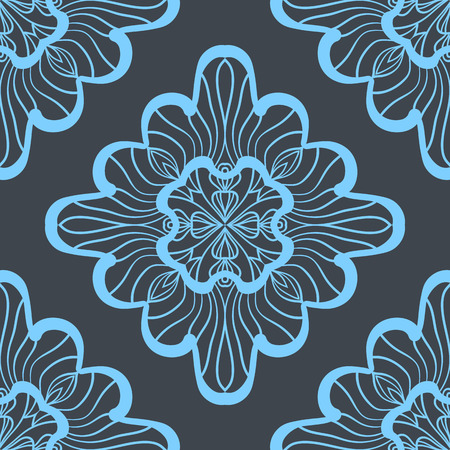 Seamless geometric pattern with bright blue ornamental squares. Vector artwork Print
