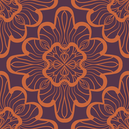 Brown Seamless geometric pattern with ornamental squares. Vector artwork for warping paper or textile