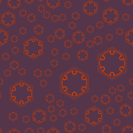 Seamless geometric pattern with dark violet ornamental patterns . Vector artwork